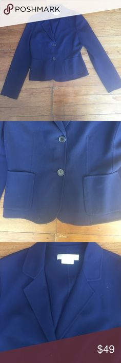 MICHAEL KORS Navy 2 button blazer virgin wool 6 BLue indigo virgin wool size 6 2 button blazer Michael KORS buttons unlined body lined sleeves beautiful stitching  Two pockets in front. NO flaws. MAde in Italy Michael Kors Jackets & Coats Blazers