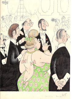 Cocktail par Albert Dubout - Illustration