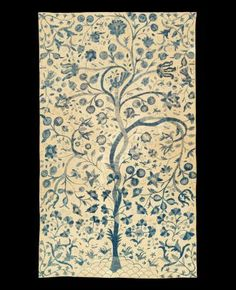 "castelo brancos- ""all indigo "" embroidery Tree of Life Colcha Portugal"