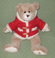 "2008 Animal Adventure Christmas Teddy Bear Brown Red Coat Hood Faux Fur 16"" Long #AnimalAdventure"