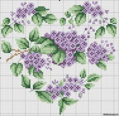 Cross-stitch Floral Heart Chart... no color chart available, just use pattern chart as your color guide.. or choose your own colors...