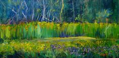 """""""Spring Bluff Marsh"""" is by Illinois artist, Melissa Pierson. This is acrylic on 24""""x 12"""" canvas."""