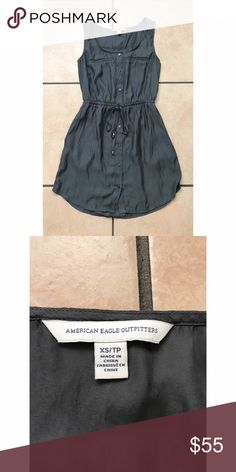 Grey Button Down Dress XS, has pockets American Eagle Outfitters Dresses
