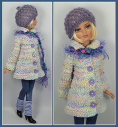"""OOAK White & Lilac Sweater Coat Outfit with Leggings & Accessories for Ellowyne Wilde 16"""" by maggie_kate_create via eBay, SOLD 2/13/15 BIN $45.00"""
