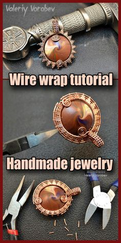 Working With Wire in Jewelry. Wire wrap tutorial. Jewelry making from copper wire. How to make wire wrapped pendant step by step.
