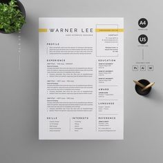 Clean, Modern and Professional Resume and Letterhead design. Fully customizable easy to use and replace color text. Give an employer a great first impression and help you land your dream job. Template Cv, Best Resume Template, Resume Design Template, Creative Resume Templates, Creative Resume Design, Branding Template, Design Templates, Creative Business, Graphic Design Resume