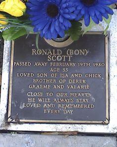 "Bon Scott, Fremantle Cemetery, Fremantle, Western Australia, Australia. Original lead singer of super rock band ""Acca Dacca"" better known as AC DC!"