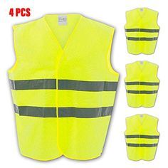 2 x chaleco reflectante amarillo con reflectores chaleco seguridad chaleco accidente coche chaleco