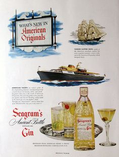 1950 Seagram's Ancient Bottle Distilled Dry Gin ad from #RetroReveries