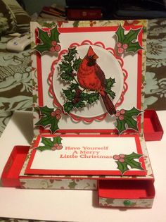 Christmas card I made for my Mom & Dad. Easel card with drawers. Miniature candy bars fit perfectly in the drawers. Gift cards do too.