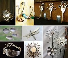 Reuse Recycle Upcycle Silverware hooks jewelry bracelet flowers dragonfly ring useful practical ideas Eco Deco, Plastic Bottle Caps, Diy And Crafts, Arts And Crafts, Upcycled Crafts, Silverware Art, Recycled Silverware, Deco Originale, Second Life