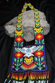 Huichol Peyote Beaded 2 Headed Eagle Necklace by HuicholArte