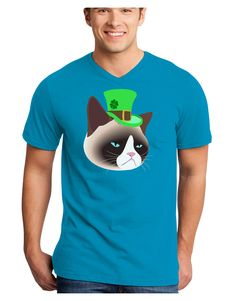 TooLoud Leprechaun Disgruntled Cat Adult Dark V-Neck T-Shirt