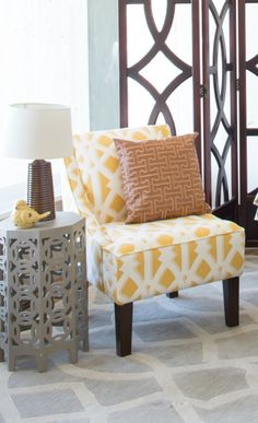 Love the mix of yellow and grey decor pieces together.