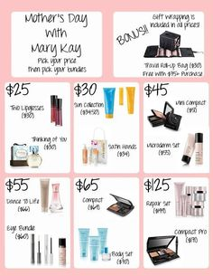 Mother's Day is arriving soon! Here are ideas for gifts. Order direct and arrives at your door. Www.marykay.com/mkempf4