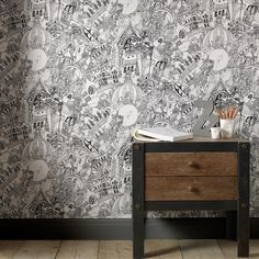 Lizzies Doodle Zwart/Wit Wallpaper by Graham and Brown
