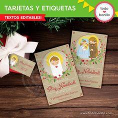Niño Jesús: kit tarjetas y etiquetas - Todo Bonito Kit, Wine Tags, Holiday Gifts, Cards, Manualidades, Drawings
