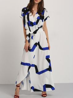 Shop Blue Stripe In White Self-tie Waist Maxi Dress online. SheIn offers Blue Stripe In White Self-tie Waist Maxi Dress & more to fit your fashionable needs.