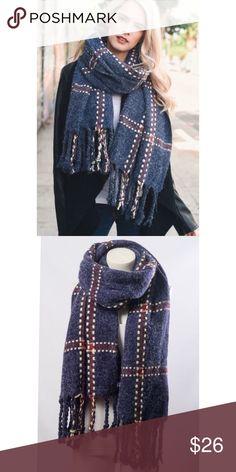 "🎄SALE🎄Navy Chunky Plaid Blanket Scarf Navy Chunky Plaid Blanket Scarf. 100% Acrylic. Dimension 75""x24"". Accessories Scarves & Wraps"
