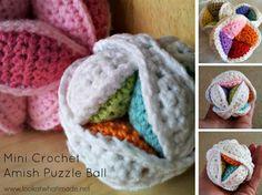 Mini Crochet Amish Puzzle Ball :http://www.lookatwhatimade.net/crafts/yarn/crochet/free-crochet-patterns/mini-crochet-amish-puzzle-ball/