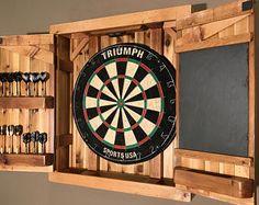 Dartboard Cabinet - Cedar - (Double Dart Row) incl Chalkboard - MADE TO ORDER