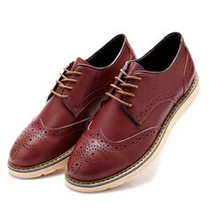 Men  Fashion Brogue Shoes Lace-up Round Toe British Oxfords