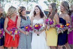 mis matched bridesmaid dresses | CHECK OUT MORE IDEAS AT WEDDINGPINS.NET | #bridesmaids