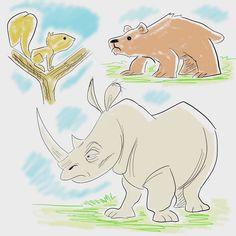 Monday Night Critters #instagram #doodle #illustration #drawing #sketch #instagood #instaart #art  #digitalart #artstagram #rhino #bear #squirrelsofinstagram #squirrel