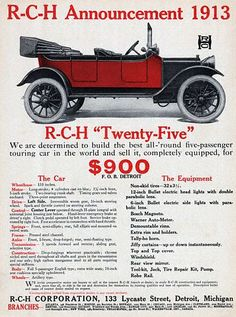 1913 R-C-H color ad - the car and equipment