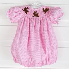 So cute for the Easter Egg Hunt! Chocolate Bunny Smocked Bubble  on sweet Pink Honeycomb by Classic Whimsey.