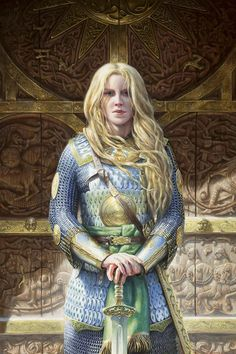 """Alone Eowyn stood before the doors of the house at the stairs head; the sword was set upright before her, and her hands were laid upon the hilt. She was clad now in mail and shone like silver in the sun."" -The King of the Golden Hall, The Two Towers, by J.R.R. Tolkien ""Eowyn before the doors of Meduseld"""