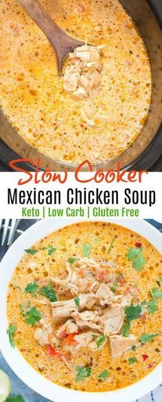 Slow Cooker Mexican Chicken Soup - Keto - Low Carb #keto #lowcarb #mexican #soup #chicken #healthyeating #mealprep #dinner #slowcooker #crockpot