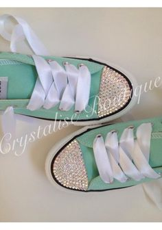 Swarovski Crystal Mint Green Converse (Hi or Low Top)