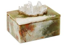 This illustrious #onyx #treasure #chest adorned with a glowing #Himalayan #crystal.  Great piece for a Rising Barn. Curious... Risingbarn.com.