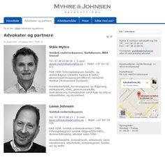 Webside for Myhre & Johnsen Advokatfirma DA i Kristiansand. Enkelt ryddig design.