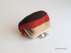Original  Retro Style Beige, Ginger and Brown Crochet Coin Purse