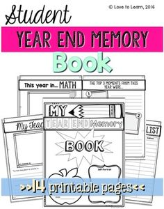 FREE Year End Memory Book with 14 printable pages for students to make a keepsake of their school year.