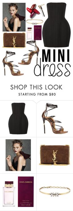 """MiniDress"" by poorvashikalra ❤ liked on Polyvore featuring Balmain, Dsquared2, Oscar de la Renta, Yves Saint Laurent, Dolce&Gabbana and Auden"