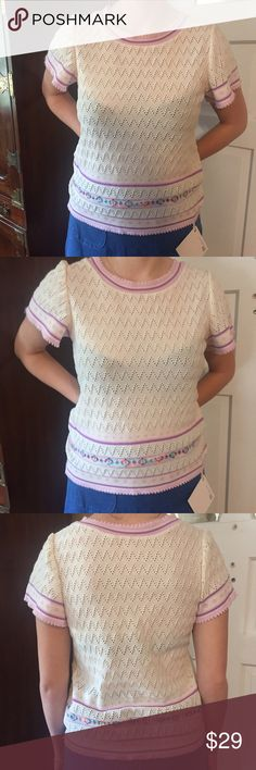 """🎄Vintage 1970s Fair Isle Style Top. Size Medium 🎄Vintage Fair Isle Style Top. Size Medium.  Vintage size 18 but fits like a medium. 100% polyester. 1970s.   Minor age stain on front. Will probably come out with oxiclean. Bust:  18"""" measured flat across front. Length:  22.5"""". Vintage Tops"""