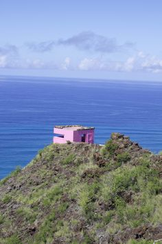 Chad and I hiked the Pink Pillbox, or Puu O Hulu, and it is such a wonderful hike! Compared to other hikes, this one has a clear path leading to the top! Click the image to read more about this hike! | @acrookedlife | Oahu Hikes | Oahu, Hawaii |