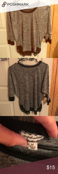 3/4 sleeve shirt Grey with black lacy trim! Size medium only worn once. Eyeshadow brand Eyeshadow Tops Tees - Long Sleeve