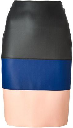 Cedric Charlier block stripe pencil skirt