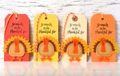 READY TO SHIP | Thankful gift tags. Thanksgiving gift embellishments with felt Turkey detail in fall colors Thanksgiving gift embellishments