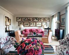 Lee Radziwill's living rom in her Paris apartment. Considering her reasonably unlimited access to funds, I think this space is so understated and unpretentious. I love the little chairs and couch all upholstered in matching Le Manach chinoiserie fabric. It's worth noting that she decorated the place herself.