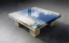 Traverten Mermeriyle Deniz Efektli Sehpa Tasarımı ve yorumlar