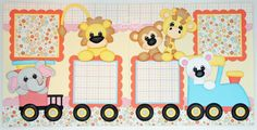 2 Premade Scrapbook Pages 12x12 Layout Paper Piecing Baby Girl Zoo Train Handmade 169