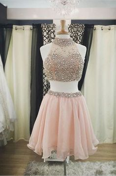 High Neck Skin Pink Two Pieces Short Homecoming Dresses,Cheap Homecoming…