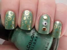 Stamping with Pueen57 over Sinful Colors - Mint Apple and added studs and googly eyes