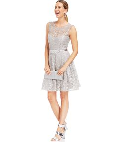Betsy & Adam Petite Illusion Foiled Lace Belted Dress