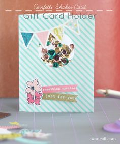 Confetti shaker card tutorial with gift card holder using the We R Memory Keepers photo fuse tool and fuse kit #WRMKFuse #ad